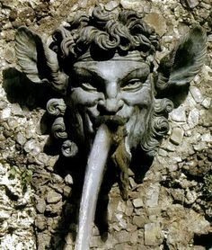 Villa Diodati Grabau - wall fountain with head of Pan? Satyr?