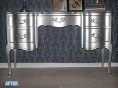 Rustoleum's metallic aluminum enamel paint...wow! #diy