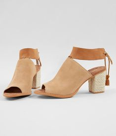 TOMS Seville Suede Peep Toe Heeled Sandal - Women's Shoes in Honey Suede Leather | Buckle