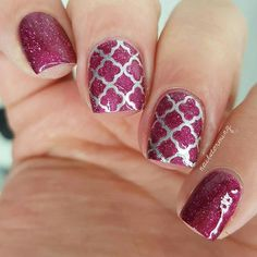 """WEBSTA @ nailstorming - piCturepOlish """"Trouble"""" available for purchase at @Color4Nails !--Products used:Burgundy glitter: """"Trouble"""" piCturepOlish purchase at @Color4NailsSilver: """"No Place Like Chrome"""" EssieStencil and clean up brush: @whatsupnailsTop coat: Hk Girl @glistenandglow1"""