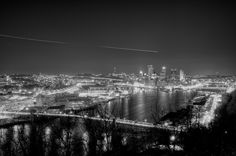 Wide angle of the Pittsburgh skyline.   One of the great things about Pittsburgh is that you can get a great view of the city from just about everywhere. This is the view from the West End Overlook, looking towards the Point in downtown.