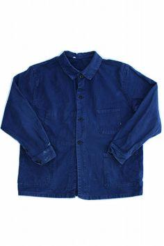 French vintage work jacket/cotton twill/navy blue/SUPER LPG/chore jacket/1950's/293