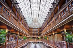 The Arcade in Cleveland, Ohio.   Built in 1890in Cleveland, Ohio, the Arcade one of the first indoor malls in America. The Hyatt now occupies the top three floors, while the bottom floors feature a few shops and restaurants. The Art Deco finishes put in during the 1930s really add to it.