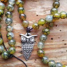 Owl Magick, owl prayer beads, owl mala, owl totem, magick prayer beads, magick mala, pagan prayer beads, pagan mala, wicca prayer beads by MagickAlive on Etsy
