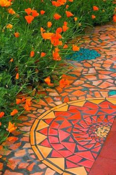 Mosaic pathway and California poppies