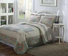 #awesome Bedding in bloom! Quilt #with nice light blue, taupe and pale yellow floral patchwork patterns . This ensemble offers a variety of expertly crafted deta...