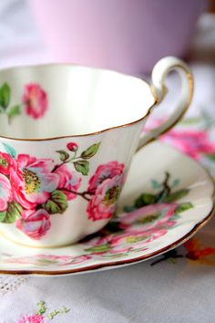 i will serve you hot tea in these pretty pink tea cups