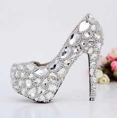 My friend Mariana Franco needs these shoes! Like neeeeeeeed them! They will look beautiful with her wedding dress! Does anyone want to start a donation for her wedding shoe fund? Rhinestone Shoes, Bling Shoes, Silver Rhinestone, Wedding Pumps, Bling Wedding, Dream Wedding, Pump Shoes, Shoe Boots, Shoes Heels