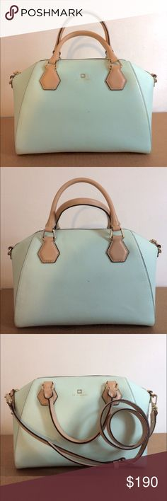 Kate Spade Seafoam Satchel Like new condition; carried exactly twice! Comes with brown travel pouch to protect it. SO cute - I constantly got compliments on it when I carried it! One small scratch in leather on the back near the bottom from a very unkind interaction with a key. kate spade Bags Satchels