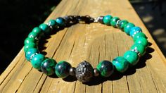 Men's Chrysocolla and Black Pewter Bracelet by NaturesBlingJewelry