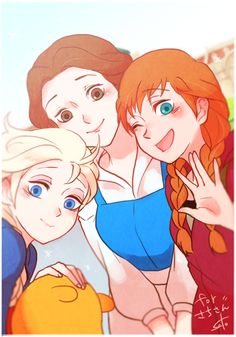 Elsa, Belle, and Anna (and Pooh Bear too)