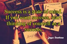 Joyce Brothers / Success is a state of mind. If you want success, start thinking of yourself as a su.