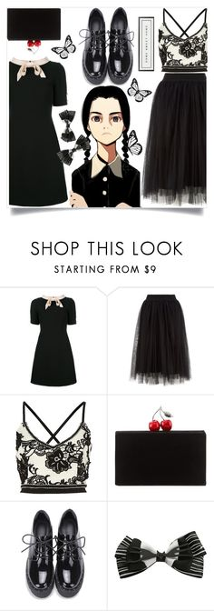 """""""On Wednesdays we wear black"""" by wuteringheights ❤ liked on Polyvore featuring Gucci, Edie Parker, Disney and Vintage Playing Cards"""