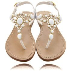 MYSTIQUE White Beads Thong Sandals ($145) ❤ liked on Polyvore featuring shoes, sandals, flats, zapatos, sapatos, leather strap sandals, white strappy sandals, strap sandals, ankle strap sandals and leather sandals