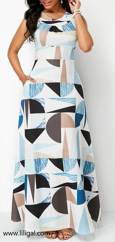 bcc8049da03 Pocket Round Neck Cutout Back Printed Sleeveless Dress
