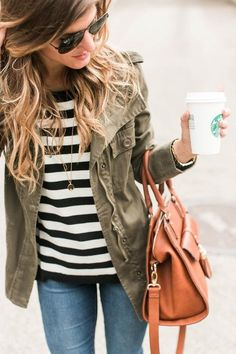 Striped shirt, simple jeans and army green jacket