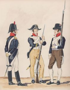 Naples; Volunteer Corps of the City of Naples, Captain,Corporal & Volunteer, 1809 by H.Boisselier