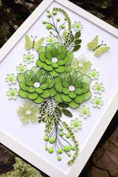 Ayani art: Quilling Green and White Neli Quilling, Paper Quilling Flowers, Paper Quilling Patterns, Quilled Paper Art, Quilling Paper Craft, Paper Crafts, Quilling Ideas, Quilling Tutorial, Quilled Creations