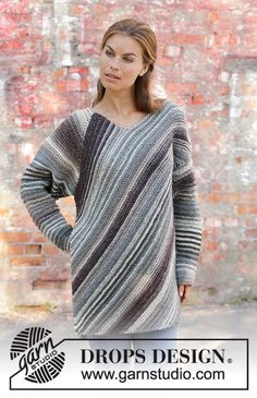 Knitted jumper with raglan in DROPS Big Delight. Piece is knitted in an angle with garter stitch and stripes. Size: S - XXXL Baby Boy Knitting Patterns, Free Knitting, Drops Design, Magazine Drops, Point Mousse, Knitted Baby Blankets, Garter Stitch, Slip, Cardigans For Women