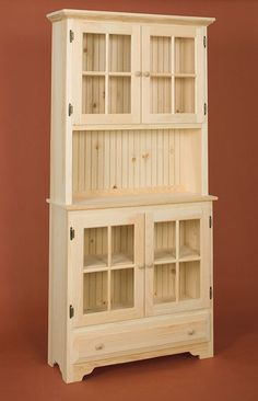 Country Hutch With Glass Doors