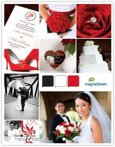 Red Wedding theme. Red & Black color Palette. Oozing with drama, romance and passion, red is perfect for the confident couple who wants to make a statement. Red really pops when paired with black and white, as seen on this palette. This color combo works for a variety of styles, from retro chic to urban sophistication. Splash red on your shoes, stationery and bouquet.