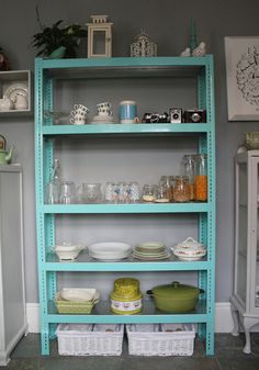 metal storage shelves. storage shelves painted. so much nicer to look at then the silver metal! metal