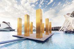 heinz mack sets 'the sky over nine columns' within calatrava's city of arts and sciences