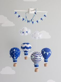 Navy Baby Mobile Hot Air Balloons Nursery by sunshineandvodka