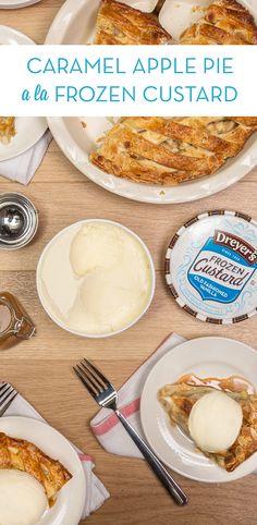 dreyer's caramel apple pie a la frozen custard Just Desserts, Delicious Desserts, Dessert Recipes, Yummy Food, Tasty, Yummy Treats, Sweet Treats, Frozen Custard, Cupcakes