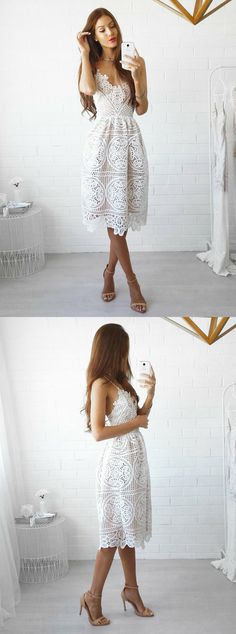 ivory teen length homecoming dresses,simple prom party dress,lace graduation dresses