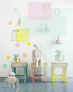 Paint it Pastel | Little Gatherer, love those little stools in pastel. A little robot lamp would be so awesome.