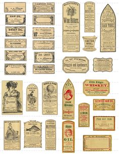 Digital Download Collage Sheet Antique 1800's Vintage Druggists Apothecary Pharmacy Labels 50% (89). $1.00, via Etsy.