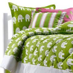 lime green elephant kids bedding