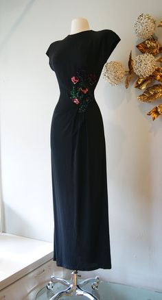 40s Dress // 40s Party Dress // Vintage 1940's Black Rayon Crepe Dress with Amazing Multi-Color Sequin Embellishment and Leg Slit Size S. $398.00, via Etsy.
