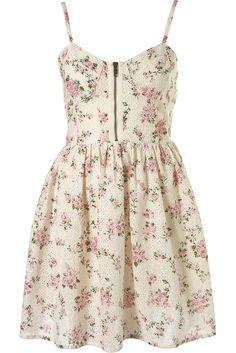 Topshop Vintage Floral Broderie Print Corset Sun Skater Dress - UK12/EU40/US8