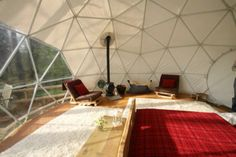 Inside the dome – double bed, futons.