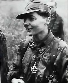 The Iron Cross 2nd Class for this young grenadier from the 12th SS-Hitlerjugend. He is wearing an Italian pattern camouflage cap and distinctive camouflaged smock of the SS. Unlike Allied forces which typically awarded Bronze stars for NCOs and Silver Stars for officers the German award system was fair and recognized bravery despite rank based on the principle of Gemeinsamschaft, or shared experience. The German military also believed in promoting officers from within the enlisted ranks .