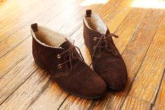 Women's Brown Suede Shoes / Desert Chukka Boots from the 1960s Made in the USA.