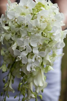 Cascades are becoming very popular with my brides. This is an elegant calla and orchid #Wedding Bouquet