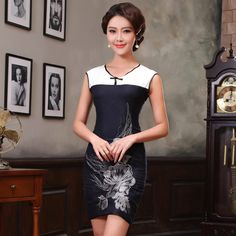 Black and White V Neck Modern Short Cheongsam - Qipao - Cheongsam - Women