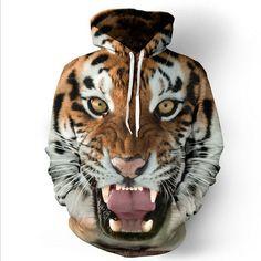 2017 hoodie sweatshirt Fashion Unisex Animal Printed Big Pockets Tiger Head 3D Print men/women Drawstring Hoodies Sweatshirts