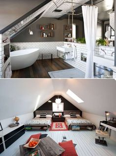 If your house has an attic and it serves as a store room then it is the time to give it a makeover. Thinking how? View these ideas: 1. A Cozy Master Bedroom Image Source: ourcosyhome 2. A Light and Airy Kitchen Image Source: freshome 3. A Spectacular Bathroom Image Source: housebeautiful 4. A Cozy Nook to Enjoy