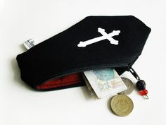 Art by Ali Horn: New Range Of Coffin Purses On Etsy | tags: coffin purse, coffin wallet, coffin bag, gothic purse, gothic bag, gothic gift, gothic wallet, goth goth