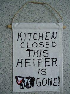 Kitchen Closed Kitchen Decor Cow Banner by CraftsbyCummins on Etsy, $4.00