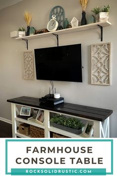 This farmhouse console table is a beginner friendly diy wood project. Not only is this table super sturdy, but it is a great statement piece for any space in your home! You can make this console table for under $100, if you follow our tips and tricks. #diywoodprojects #consoletable #farmhousedecor #farmhouseconsole #farmhouseconsoletable #easydiyprojects #tvstand #farmhouseshelving