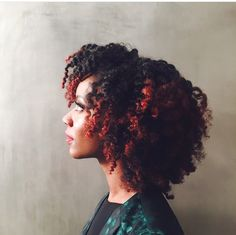 @queen_taelor || 4c hair. kinky hair.   kinky hair. afro hair. beautiful hair. red highlights. red tips. natural hair and red color. red highlights for natural hair. natural hair with red highlights. natural hair with red tips.