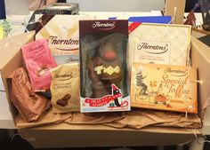 Our generous Christmas chocolate gift from one of our suppliers! Even still, not sure this will last us very long...