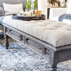 Furniture Makeovers Archives - Bless'er House DIY Ottoman Bench from a Repurposed Coffee Table Furni Coffee Table Bench, Coffee Table Makeover, Old Coffee Tables, Coffee Coffee, Bench Furniture, Living Furniture, Furniture Makeover, Living Room Decor, Rustic Furniture