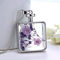 Dried Flower Fashion Choice of Square or Heart shaped glass pendant Necklace | eBay