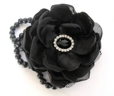 Licorice Black Romantic Rose Pearl Wrist Corsage by theraggedyrose, $28.00
